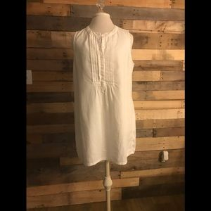 J. Crew white linen pintuck shift dress size M
